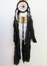 DREAM CATCHER - Small Black Handmade with Leather Feathers Beads Car Wall Decor