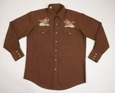 Vintage Mens Shirt Cowboy Western Pearl Snap Brown Embroided Wheel Size Medium