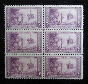 3¢ 1934 Unused US Scott # 739 Wisconsin Tercentennial Stamp Block of 6 MNH VF OG