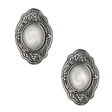 Savati ~ Sterling Silver with Mother of Pearl Byzantine Clip Earrings