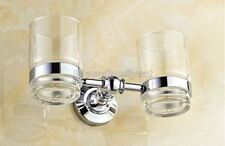 Polished Chrome Brass Wall Mounted Bathroom Toothbrush Holder Glass Cup yba807