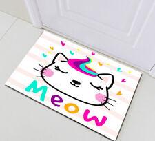 Home Area Rugs Cute Cat Meow Non-skid Kitchen Door Bath Mat Rome Floor Carpet