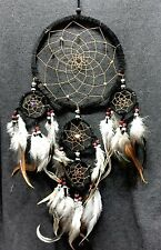 Dream Catcher Black Wall Hanging Decoration Ornament Bead Feather Suede long 22""