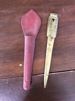 Interesting Antique Very Old Brass or Bronze Letter Opener, 9""