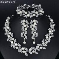 Mecresh Silver Crystal Pearl Necklace Bracelet Earring Wedding Jewelry for Women