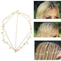 Fashion Women Bohemian Retro Gold color Chain Tassel Forehead Hair Head band