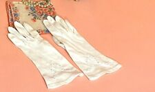 Vintage White Cotton Women's Gloves Embroidered Details Cut Outs-Easter!