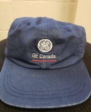 GE General Electric Canada Logo Baseball Adjustable Cap Hat Vintage Vtg Blue