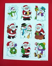 VINTAGE PAPER MAGIC CHRISTMAS 9 STICKERS 1 SHEET HEARTS SANTA SNOWMEN