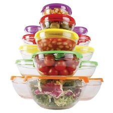 5 Tazones de Almacenamiento de alimentos apilable Recipiente de Vidrio Cocina Set Con Tapa Apto Para Lavavajillas