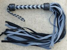 Silver/Grey  Black Grain Leather Handle Suede Tails Flogger, Classy Too!