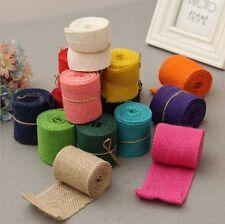 6cm Natural Jute Hessian Burlap Ribbon Sewing Craft Wedding Christmas Gift Decor