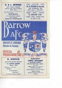 Barrow v Manchester United 1967/68 Lancashire Senior Cup 3rd Round