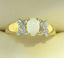 OPAL DIAMOND RING  9Carat  GOLD OPAL RING GENUINE AFRICAN OPAL