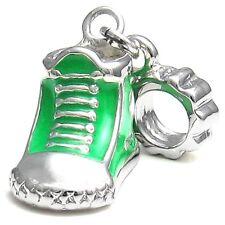 5 Pcs Green Sneaker Boot Shoe Silver European Charms Beads For Bracelet L#541