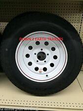 "15"" 5 Lug Trailer Rim / LoadStar Tire Wheel Assembly White MOD 205/75D15  C ply"