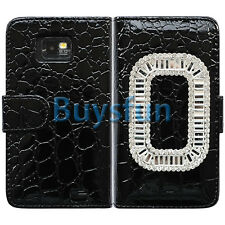 Bling Rhinestone Crocodile Wallet Leather Cover Case for Samsung Galaxy S2 i9100