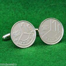 Belgian 1 Franc Coin Cufflinks, Belgie Belgique Belgium Crown 3 Pointed Star