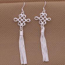 925 Sterling Silver Long Tassel Drop Dangle Hook Earrings Women's Jewelry