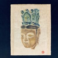 Vintage Tibet Buddhist Deity Crown Painting on Paper Original Asian Art Signed