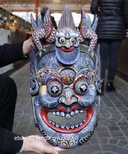 Wood Carved Hand-painted mahakala Dragon buddha facial makeup Mask Wall Hanging