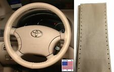 Sand Leather Steering Wheel Cover Size C For Ford Chevy & Other Makes
