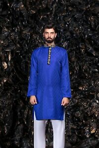 Blue Mens Brocade Kurta Indian Pakistani Wedding Bollywood Party