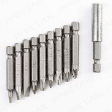10Pc Screw Drill Bit Set PLUS MAGNETIC BIT HOLDER 50mm Slotted Phillips Pozi