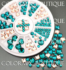 #R45 Nail Art Tips Decoration Blue Coral Square Round Glass Rhinestones+Wheel