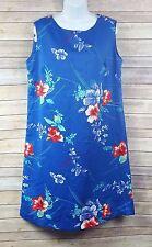 Women's Sleeveless Dress Hawaiian Floral Pattern Blue Made In Hawaii Plus Sz 16