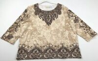 Alfred Dunner Women's Long Sleeve Blouse Top 1X Plus Brown Beige Floral Studded