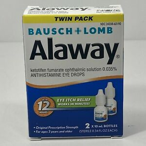 Bausch & Lomb Alaway Eye Itch Relief Drops TWIN PACK (0.34 Fl. oz/ea) EXP 2022+