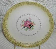 Paden City Pottery Salad Dessert Plates Yellow Rim Gold Filigree Roses Black