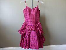 Betsey Johnson Pink Sheen Plaid Pouf Peplum Tulle Sweetheart Dress NWT Size 2