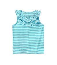 Gymboree Nwt Mix 'n' Match Caribbean Blue Ruffle Stripe Tee Top Size M 7-8 Girls