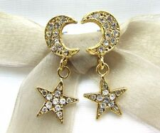 18KGold Plated Moon and Star Round Swarovski Element Crystal Rhinestone Earrings