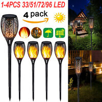 33/51/72/96LED Light Control Solar Flame Light Outdoor Waterproof Torch Lamp Kit