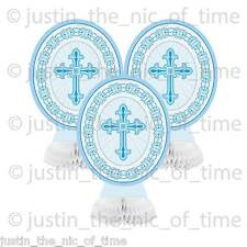 "CHRISTENING COMMUNION Blue Boy Tableware 8""  HONEYCOMB DECORATIONS x3"