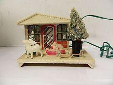 VTG Putz Style Christmas Village House Japan Mirrors Santa Reindeer Twinkle Lite