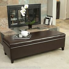 Living Room Furniture Brown Leather Storage Ottoman Bench