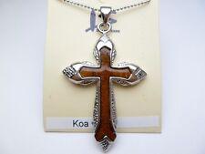 "Hawaiian Koa Wood Jesus Cross Pendant with 18"" Metal Ball Chain  # 50135-15"