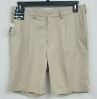 Roundtree & Yorke Performance LT Khaki Pleated Men's Shorts NWT $40 Choose Size