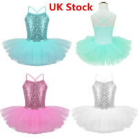 UK Kids Girl Ballet Dance Dress Tutu Skirt Leotard Performance Dancewear Costume