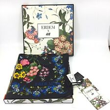 "NEW ERDEM x H&M Floral Black Multi-Color 100% Silk Scarf BOX TAGS 18.5"" Square"