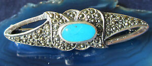 Brooch Pin Stud Decorated with Turquoise and Marcasite Stone Blue 4,7 CM