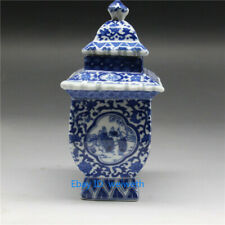 Chinese blue and white porcelain layered tower vase W qianlong mark