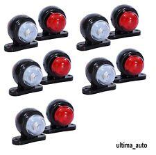 10 X 12V Mini LED Side Marker Ligths Rubber Red White Trailer Camper Horsebox