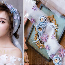 Beautiful Forest Fairy Tale Blue & Purple Flowers White Silk Hair Band