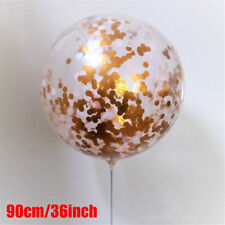 GIANT 90CM 3ft Confetti Balloon Large Clear Gold Glitter Baby Shower Wedding CE