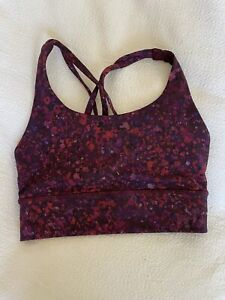 NEW LULULEMON Energy Bra Long Line Red/Pink Floral Strappy Padded Sports Bra 4